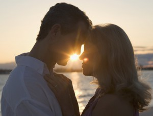 Couple Kissing at Sunset