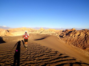 アンデス山脈の横に佇むアタカマ荒野を走る