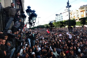 チュニジア革命時のチュニス中心街