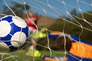 soccer ball making a goal