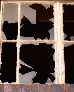 Broken window-panes